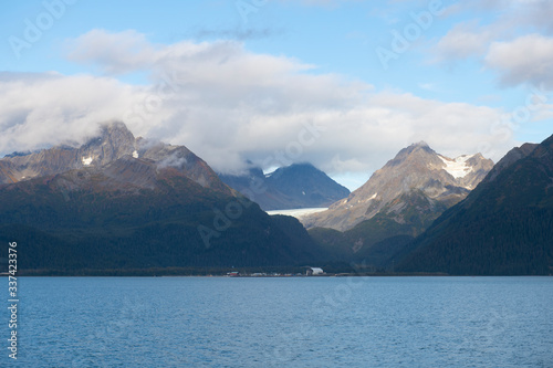 Glacier mountain on Resurrenction Bay near Kenai Fjords National Park in Sep. 2019 near Seward, Alaska AK, USA.