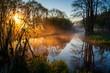 Barwny poranek nad rzeką Supraśl. Dolina Supraśli. Puszcza Knyszyńska, Podlasie, Polska