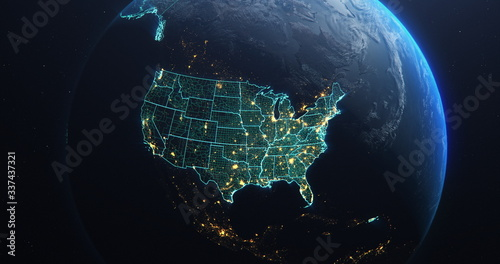 Obraz na plátne Planet Earth from Space USA, United States highlighted state border and counties