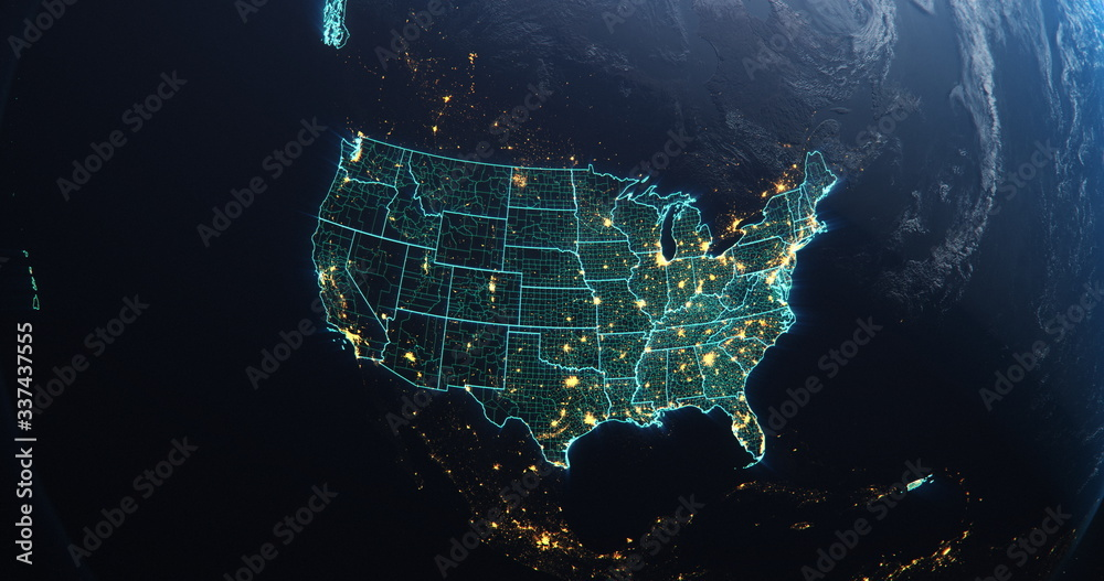 Fototapeta Planet Earth from Space USA, United States highlighted state border and counties animation