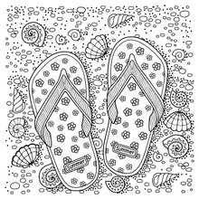 Vector Coloring Book For Adult. Hand Drawn Flip Flop Sandal On The Sea Beach