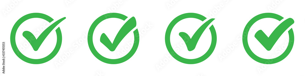 Fototapeta Green сheck mark icons set. Check marks symbol collection. Simple check mark. Quality sign icon. Checklist symbols. Approval check flat style - stock vector.