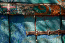 Colorful Blue Green Wood Fence...