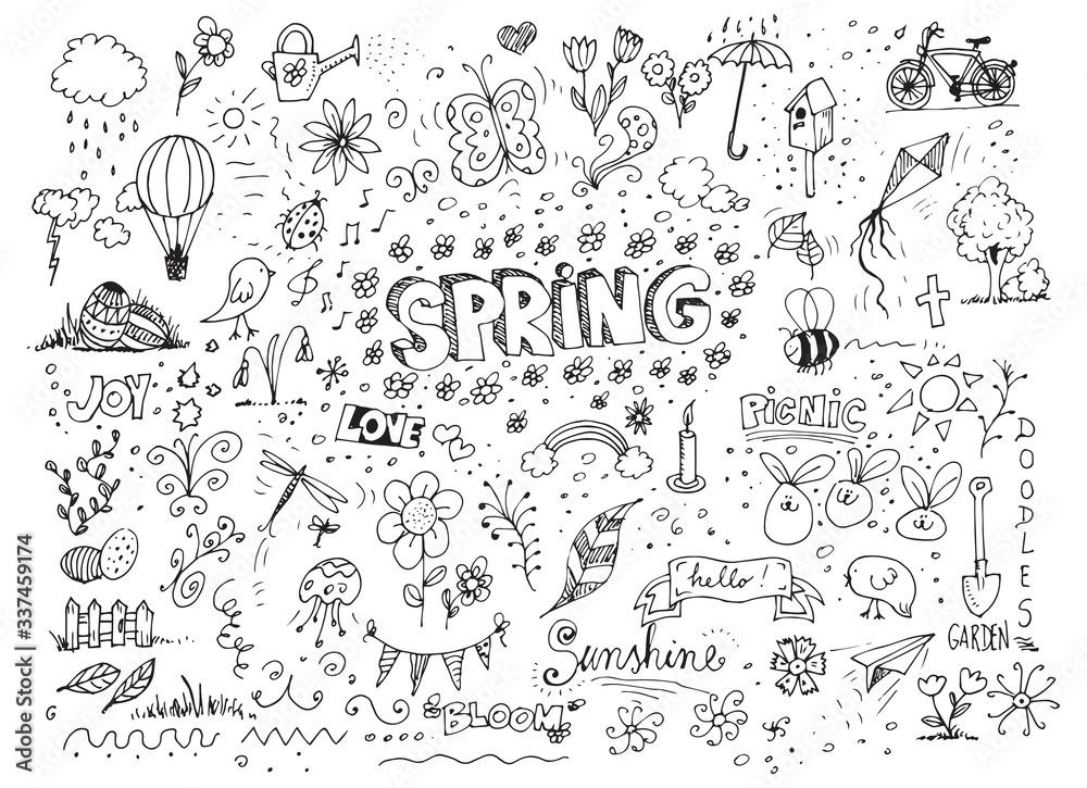 Fototapeta Vector sketchy line art doodle cartoon spring set