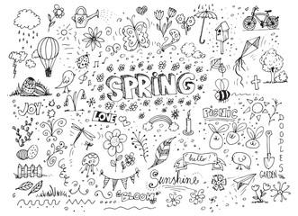 Vector sketchy line art doodle cartoon spring set