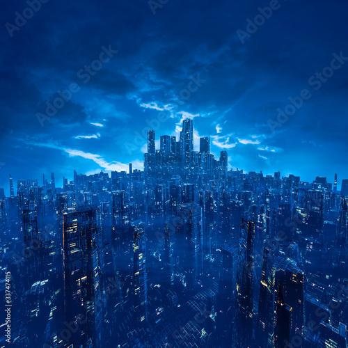 Fototapeta miasto   metropolis-of-the-future-3d-illustration-of-dark-futuristic-science-fiction-cyberpunk-city