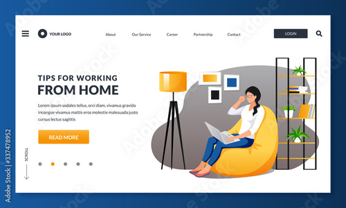 Obraz Work at home, remote work, freelance concept. Woman or freelancer sitting on armchair using laptop. Vector illustration - fototapety do salonu
