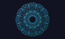 Ornamental Mandala On Dark Blu...