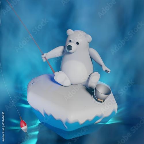 фотография 3d rendered illustration of white bear