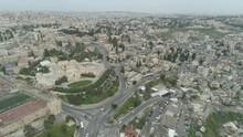 Drone View Of Quarantined Streets Of Jerusalem Near Rockefeller Museum. File1-03