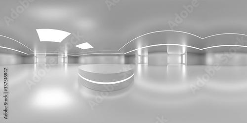 Photo Full 360 degree equirectangular panorama hdri of modern futuristic white buildin