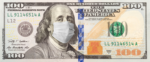 Cuadros en Lienzo Full 100 Dollar Bill With Concerned Expression Wearing Medical Face Mask