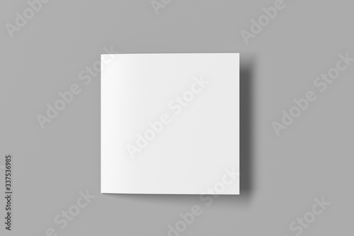 Tela Blank square pages leaflet on gray background