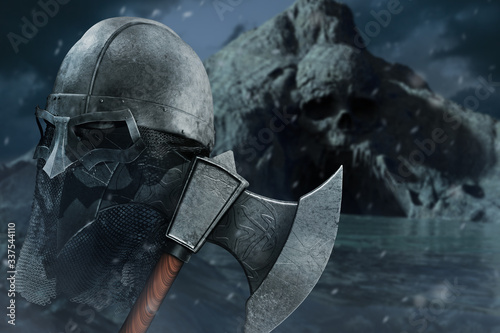 3d illustration of viking axe with helmet on skull cave shore background Canvas Print