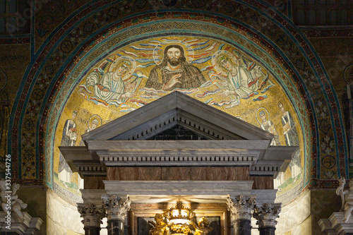 Mosaic in the apse of chapel of St Venantius of Lateran Baptistery of the Archbasilica of Saint John Lateran Canvas Print