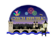 Logo Of Church Of Our Lady Before Tyn And Charles Bridge In Prague At Night With Fireworks And Fancy Masks From Masopust Carnival