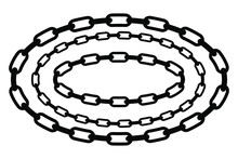 Simple Vector Oval Frame From Black Chain For Your Element Design, Isolated On White
