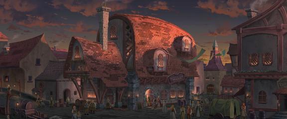 An illustration of the big medieval fantasy tavern.