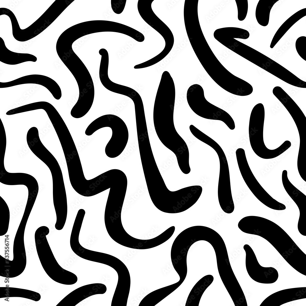 Black and white abstract hand drawn seamless pattern