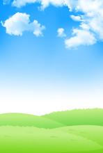 新緑 草原 空 背景
