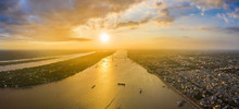 Aerial View Of Sunset Over Mek...