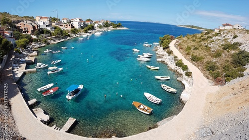 High Angle View Of Harbor At Primosten - fototapety na wymiar