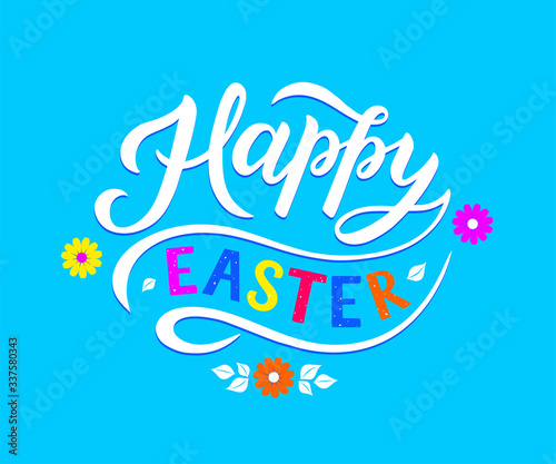 Fototapeta Happy Easter - hand drawn lettering. Design for holiday greeting card and invitation of the happy Easter day. Drawn spring celebration postcard for icon, invitation, poster, banner template. obraz na płótnie