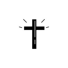 Cross Easter Black Icon Over W...