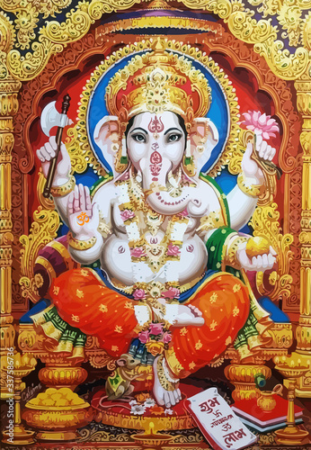 Canvas Print Ganesha white hindu temple bless lord faith mythology god  illustration