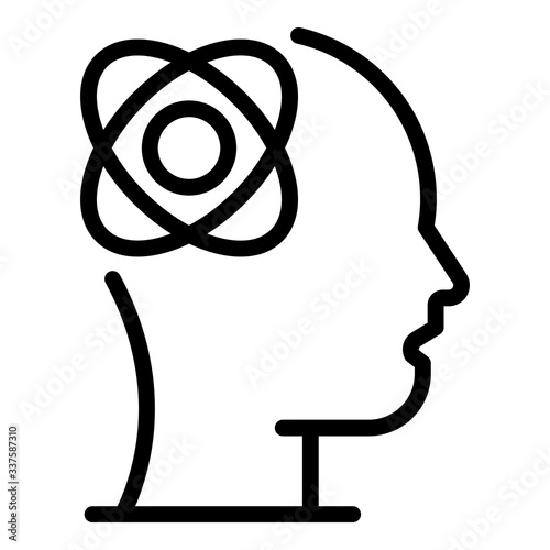 Obraz Atom with orbits in the head icon. Outline atom with orbits in the head vector icon for web design isolated on white background - fototapety do salonu