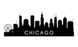 Chicago Illinois skyline silhouette. Black Cleveland city design isolated on white background.