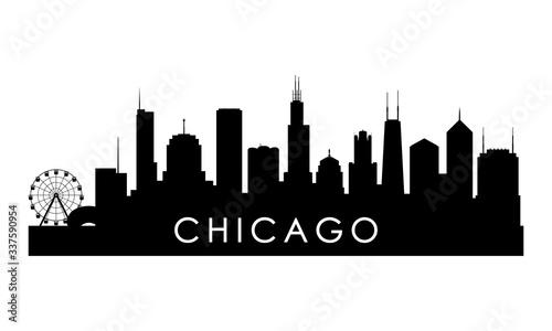 Chicago Illinois skyline silhouette. Black Cleveland city design isolated on white background.
