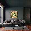 Leinwanddruck Bild - 3d render of beautiful interior with dark  gray walls