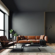 Leinwanddruck Bild - 3d render of beautiful interior with dark  gray walls