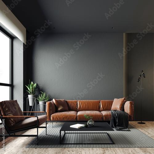 Obraz 3d render of beautiful interior with dark  gray walls - fototapety do salonu