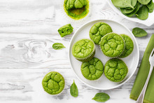 Vegan Salty Spinach Muffins For Healthy Breakfast.