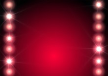 Bright Lights Row On Deep Red Background.