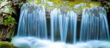 Closeup Blue Waterfall On A Mo...