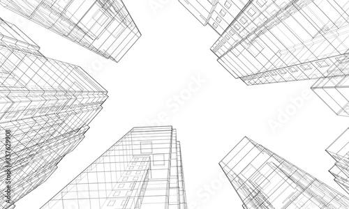 Fotografie, Obraz Vector wire-frame model of a multi-storey building