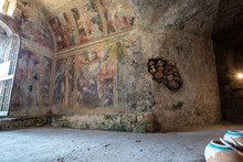 A Crypt Dedicated To St. Michael The Archangel Decorated With Frescoes Of Byzantine Origin In The Masseria Jesce, An Ancient Farm, Built Along The Ancient Appian Way In Altamura, Apulia, Italy