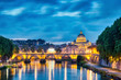 canvas print picture Illuminated St. Peter's Cathedral in Rome at Dusk