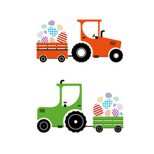 Vector Illustration, Tractor Carries Easter Eggs.