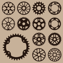 Set Of Gears. Gear Wheel Collection.  Bicycle Gear Cogwheel Sprocket Symbols Chain Wheel. Group Of Gears. Bicycle Crank Vector Collection.