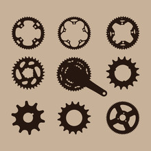 Bicycle Motorbike Gear Cogwheel Sprocket Symbols Chain Wheel. Sprocket Wheel With Chain Glyph Icon. Drive Belt On Pulley. Silhouette Symbol. Negative Space. Vector Isolated Illustration.