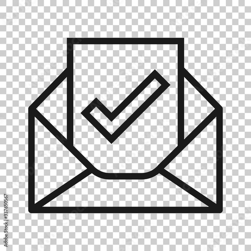 Photo Envelope with confirmed document icon in flat style