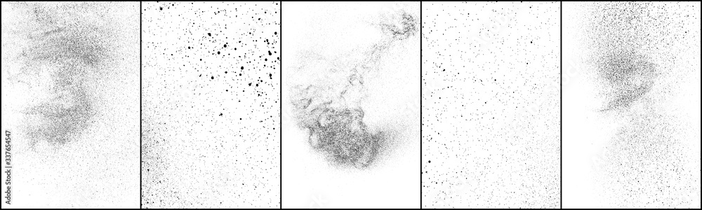 Fototapeta Set of distressed black texture. Dark grainy texture on white background. Dust overlay textured. Grain noise particles. Rusted white effect. Grunge design elements. Vector illustration, EPS 10.