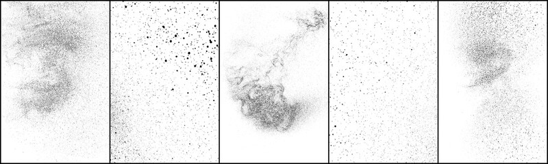 Set of distressed black texture. Dark grainy texture on white background. Dust overlay textured. Grain noise particles. Rusted white effect. Grunge design elements. Vector illustration, EPS 10.