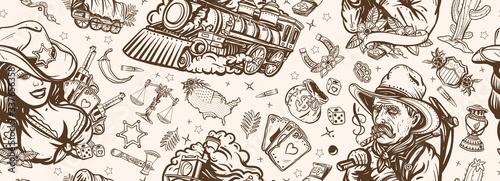 Wild West seamless pattern Wallpaper Mural
