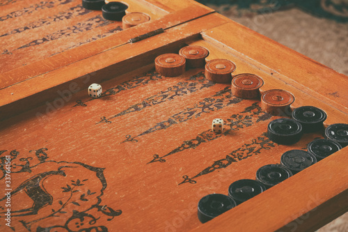 Photo Old wooden backgammon board game