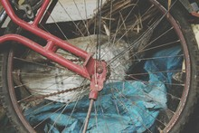 Close-up Of Rusty Bicycle Wheel